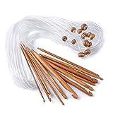 Bambus Häkeln,Vanyda 12 Stk Tunesische Bambus Afghanische Häkelnadeln verschwelt Bambus Nadel für Teppich Extended Crochets, Verschiedenen Größen ( 3-10mm)