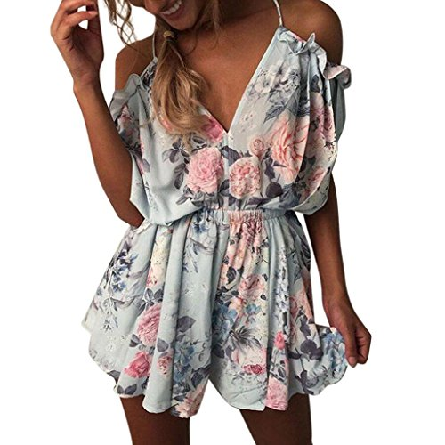 Jumpsuits Women Summer HCFKJ Ladies Holiday Mini Playsuit Teens Girls Elegant Beach Shorts Mini Dress Loose Chiffon V-Neck Off Shoulder Sexy Clothes One Piece
