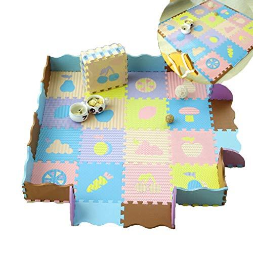 HLMIN 16 Stück Baby Krabbeln Matte Ineinander Greifende Bodenfliesen Mehrfarbig Weich Super Dick Hohe Dichte Nicht Giftig (Farbe : A, größe : 120cmx120cmx1.4cm) -