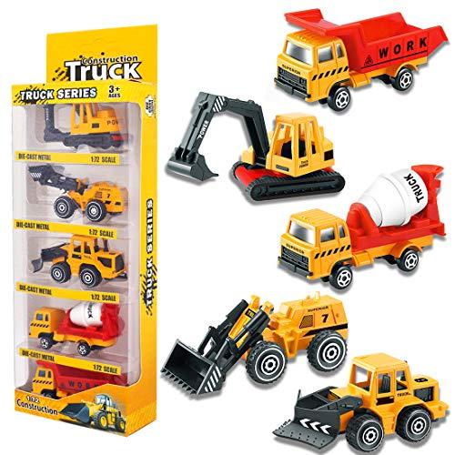 YIMORE Vehicules de Chantier Voiture Miniatures Jouet Camion Decoration Métal et Plastique Noël Cadeau pour Enfant Garcon Fille 3 Ans (5pcs)