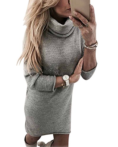 Minetom Winterkleider Damen Grau Elegant Langarm Strickkleid Winter Lang Sweatkleid Kleid Grau DE 38 (Sleeveless Knit Cocktail Mini)