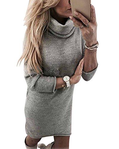 Minetom Winterkleider Damen Grau Elegant Langarm Strickkleid Winter Lang Sweatkleid Kleid Grau DE 38 (Sleeveless Cocktail Knit Mini)