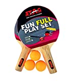 #2: Stag Table Tennis Fun-Full Play Set 2 Rackets, 3 TT Balls & 1 Portable Net (Multicolor)