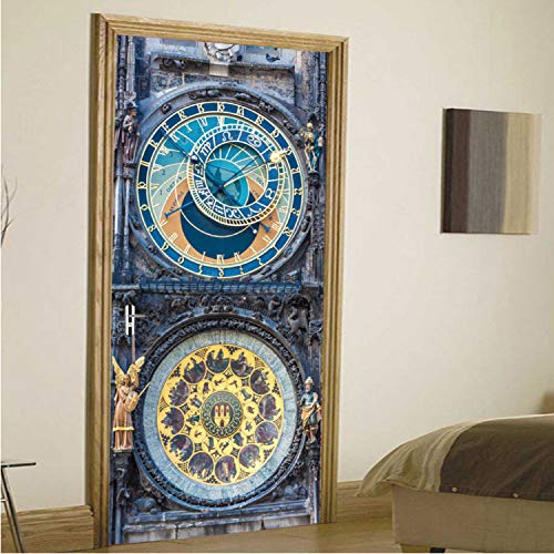 yuyu-beautiful Vintage Prague Square Art Door Stickers Waterproof Poster 3D PVC Wallpaper Mural Home Decoration Accessories for Kids