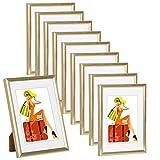 WOLTU 10 X Cadre photo 10x15cm Nouveau design appliquer à la famille,Or BR9857gd-10-a