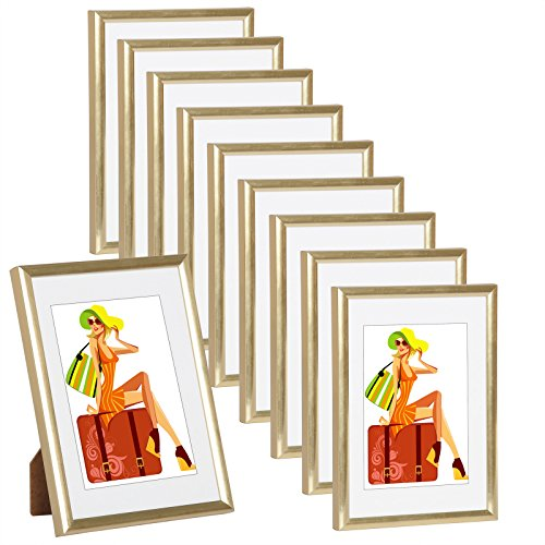WOLTU #315 Bilderrahmen Bildergalerie Fotogalerie mit Passepartout, Foto Collage Galerie , Kunststoff und Echtglas , New Life Style , Gold , 13x18 cm, 10er Set (Gold-bilderrahmen 10 X 13)