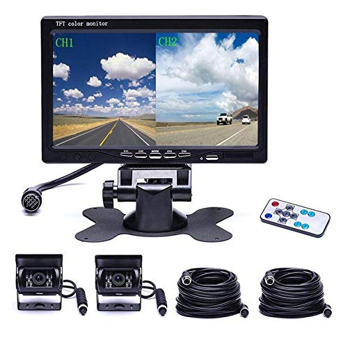 WSJS-Rckfahrkamera-fr-Mhdrescher-Screen-Monitor-Kit-LKW-Kamerasysteme-Kabelgebundene-Rckfahrkamera-4-Pin-Kabel-7-Zoll-HD-Display