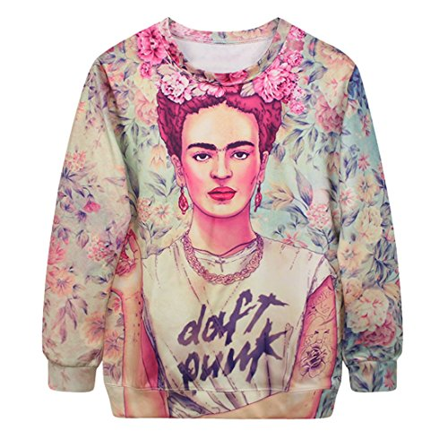 YICHUN Femme Tops T-Shirts Tee-Shirt de Loisir Fin Sweat-shirts Sweaters Impression Pulls Blouse Pull-Overs Jumpers Portrait 19#