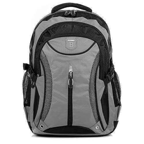 Ergonomisches Daypack City Damen Herren Rucksack Schulrucksack Backpack Tasche für Reise Sport Freizeit (Grau-Schwarz)