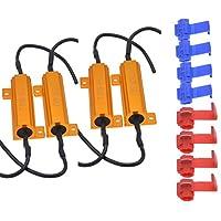 TUINCYN - 4 resistencias de carga para LED de 50 W y 8 Ohm, canceladores de errores para faros delanteros LED, canceladores de alarmas para luces de placa de matrícula, cable condensador descodificador para parpadeo excesivo de intermitentes con 8 abrazaderas para cable