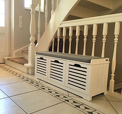 SoBuy Moderne Schuhtruhe,Sitzkommode mit 3 Körben,Sitzbank, Schuhschrank mit Sitzkissen,Spieltruhe, FSR23-W 4
