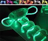 itecosky luz LED luminoso, con 3modos de balón Fashion Glowing cordones intermitente colores neón Shoestrings Chaussures LED Party cordones noche Running cordones para hombres mujeres niños verde
