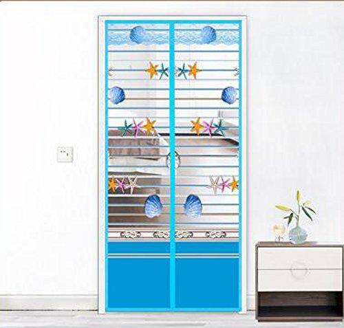 M&K Magnetvorhang Zum Insektenschutz,Magnet Fliegengitter Tür, Klebmontage Ohne Bohren - Vorhang für Balkontür Wohnzimmer Schiebetür Terrassentür -Blau 85x220cm