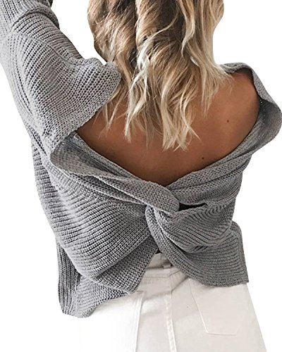 BONESUN Damen Sexy V-Ausschnitt Lange Ärmel Geknotet Sweater Casual Stricken Rückenfrei Pullover Grau