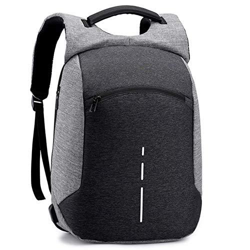 PLIENG Laptop Rucksack Mode Lässig Schule Reise Business Pack wasserdichte Diebstahlsicherung Reflektierende Streifen Tragbare Bookbag,Grey