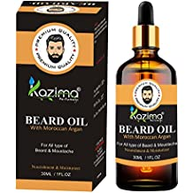 KAZIMA Premium Quality Beard & Moustache Oil For Men (30ml) - with Moroccan Argan Oil Ideal For Nourishment Moisturizing,Thick Soft, Shining, Smoothing And Promotes a Healthy Hair Naturally Beard Growth, Faster Beard Growing