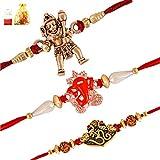 Mahi Combo of 3 Purely Divine Jai Hanuman, Vighnaharta Ganesha and Om Rudraksha