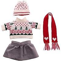 Uteruik - Ropa ropa informal de invierno para muñeca de 46 cm, suéter, falda, sombrero y bufanda, accesorios para disfraz