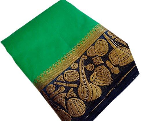 NIRJA CREATION WOMEN'S MULTI COLOR LATEST PARTYWEAR TRADITIONAL BANARASI SAREE(6 Color) (GREEN)