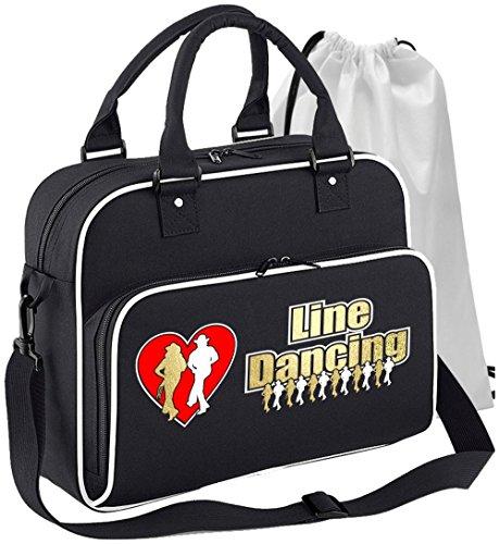 MusicaliTee Line Dancer - Line Dancing Heart - SCHWARZ + Weißes White - Tanztasche & Schuh Tasche Dance Shoe Bags - White Heart Handtasche