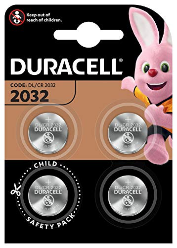 Pile bouton lithium Duracell spéciale 2032 3V, pack de 4...