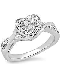 DazzlingRock Collection 0.25 Quilates (de quilate) Diamond señoras Novia en Forma de corazón Blanco de 10 K Oro Blanco Redondo…