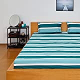 #10: Solimo Nautical Stripe 180 TC 100% Cotton Double Bedsheet with 2 Complimentary Pillow Covers - Green