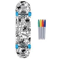 Xootz Kids Colour In Skateboard for Beginners, Double Kick Trick Board, Maple Deck, 31 x 8 Inch