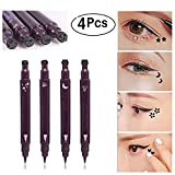 Xiton 4pcs / Set double tête Eyeliner Tattoo Eyeliner Stamp imperméable Long Lasting Maquillage Eye Liner Décoration outil cosmétique eyeliner noir Pencill