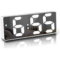 """JQGo Réveil Numérique, 6,7"""" LED Miroir Horloge Digitale Réveil de Chevet Réveil Matin, Activation vocale/Non Ticking…"""