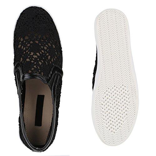 Damen Sneakers Slipper Slip-ons Glitzer Skaterschuhe Flats Schwarz Spitze