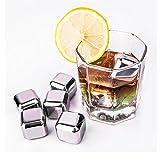 Decentgadget® acciaio inox cubetti di ghiaccio riutilizzabili bevono più fresche 8 pezzi di imballaggi metallici cubi di metallo di ghiaccio in acciaio cubetti di ghiaccio cubetti di ghiaccio Stainless Steel Ice Cubes