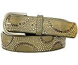 Gadzo® gürtel frauen Gürtel gürtelriemen grün Nieten Strass bunt Vintage Nieten gürtel grün 95 cm K1709
