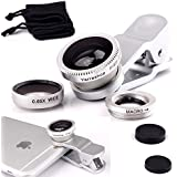 Yarrashop® Universal 3 in 1 Mobile Phone Camera Lens Kit 180 Degree Fish Eye Lens + 2 in 1 Micro Lens + Super Wide Angle Lens for iPhone 6 6s Plus 5 5S 4S 4 iPad mini iPad 4 3 2 Samsung Galaxy S6 S4 S3 S7 Note 4 5 A3 A5 A7 J1 J5 J7 Sony HTC Blackberry Smart phones (Silver)
