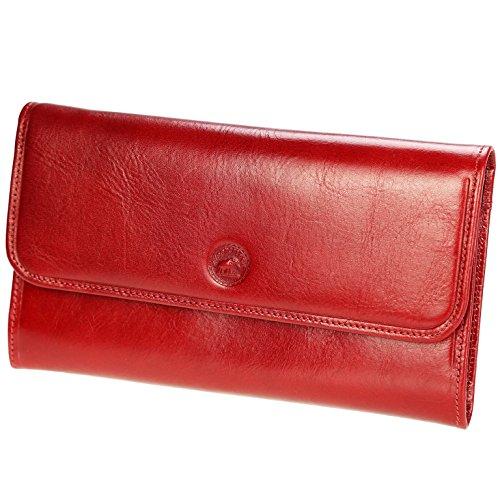 Olivia - Portefeuille en cuir - Grand Portefeuille Porte Chéquier Femme PACK cadeau avec porte clés - Rouge, Cuir