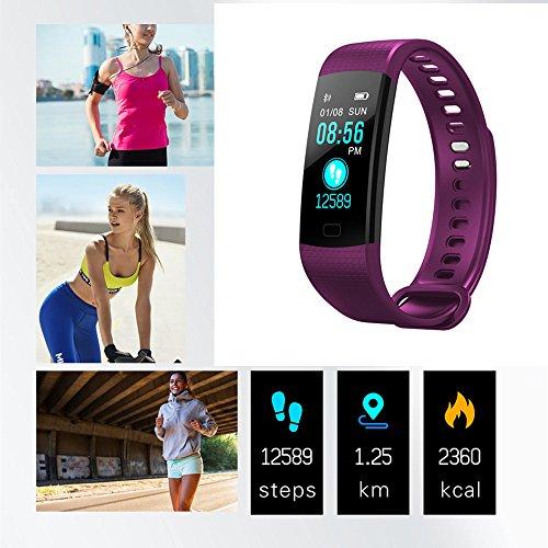 Bluetooth-Smartwatch Armbanduhr, Intelligente Uhr Fitness Tracker Smart-Armband Sport Uhr Schrittzähler Herzfrequenzmesser Schlaftracker Kompatibel iPhone Huawei Samsung Xiaomi Andere Smartphone (Lila)
