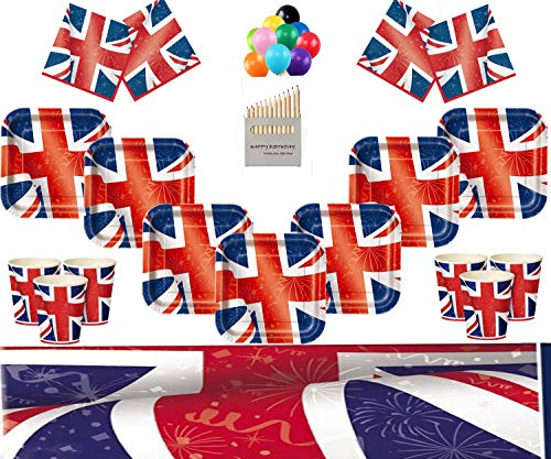 of British Union Jack Partei liefert Kinder Geburtstag Party Geschirr Kit für 16 Gäste Royal Party Dekoration - kostenlose Foto-Rahmen & Balloons (Dekorationen Party British)