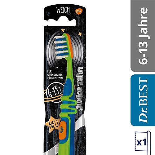 Dr.BEST Vibration Juniorzahn Zahnbürste, Weich (1 Stück), für gründliches Zähneputzen