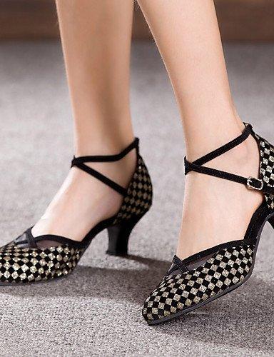 ShangYi Chaussures de danse ( Bleu / Rouge / Argent / Or ) - Non personnalisable - Gros talon - Flocage - Latine Silver