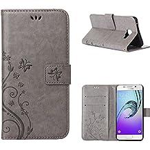 MOONCASE Galaxy A3 (2016) Bookstyle Étui Fleur Housse en Cuir Case à rabat pour Samsung Galaxy A3 (2016) A310 Coque de protection Portefeuille TPU Case Gris