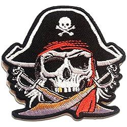 Parche para ropa con calavera pirata, termoadhesivo.