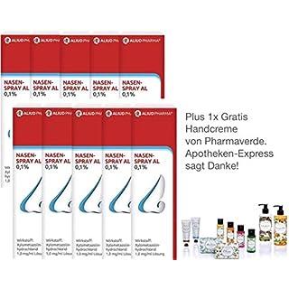 Nasenspray Al 0,1% 10 ml für Erwachsene - 10er Sparpack plus Handcreme von Pharmaverde