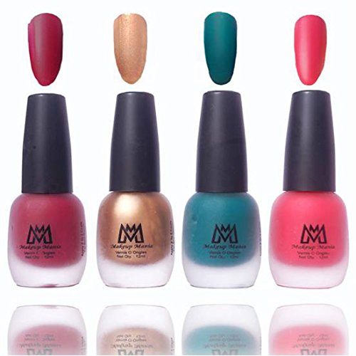 Makeup Mania Premium Nail Polish, Combo of 4 Velvet Matte Nail Paint - Maroon, Golden, Green, Pink, 12 ml each bottle (MM#17)