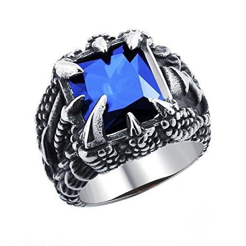 Anillo de garra de dragón azul oscuro Crytsal anillo gótico de acero inoxidable para regalo de cumpleaños de los muchachos