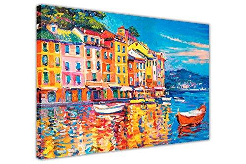 CANVAS IT UP Bunte Boote und Stadt auf Bild auf Rahmen Wand Decor Art Prints New Modern Art Scenery Größe: A1–86,4x 61cm (86cm x 60cm)
