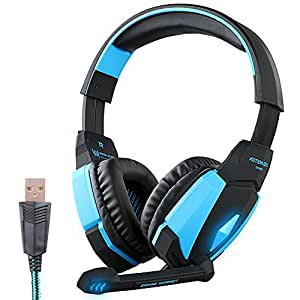 AFUNTA EACH G4000 USB Plug Stereo Headset USB Over Orecchio ha fissato la cuffia Bass cancellazione del rumore che isola con microfono respirazione Colorful luce a LED per PC Gamer Gaming Tablet computer il telefono mobile MP3 MP4 - Nero + Blu