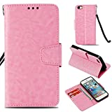 BONROY iPhone SE /5S / 5 Case, [ECHT Leder] Brieftasche Case Hülle mit Kartenfächer für iPhone SE /5S / 5-Rosa