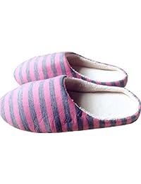 cuir couleur unie de haute qualité tissu velours pantoufles couple confortables avec des chaussons en coton épais,marron foncé,42