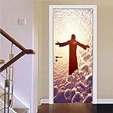 Haipeiy Türaufkleber 3D Tür Wandaufkleber Weihnachten Aufkleber Schlafzimmer Tür Aufkleber Wohnkultur Selbstklebende Removable Home Tür Aufkleber 77x200 cm