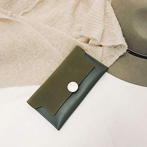 Fyyzg Damen Clutch Bag Neue dünne Brieftasche Mode Matte Gesicht Retro Langen Abschnitt zweifache Wilde Dame - grün